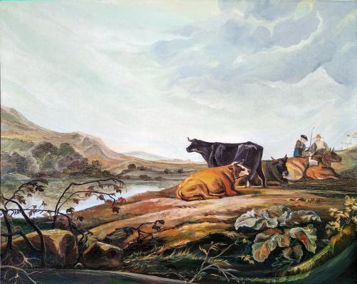 Viola Larkina. Утренний пейзаж с всадниками и пастухами