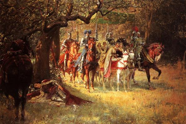 Уильям Франк Кальдерон. 4 королевы находят спящего Ланселота