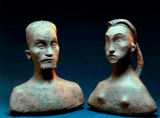 "Pelageya Nikolaevna Shuriga. ""Adam"" and ""Eve."" Busts"