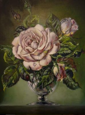 """Оксана Анатольевна Грачева. Копия """"Розы в стеклянном бокале"""" (Roses in a glass)"""