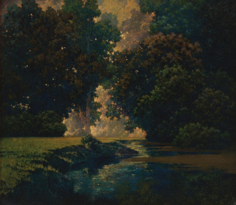 Maxfield Parrish. Brook in the shade of trees