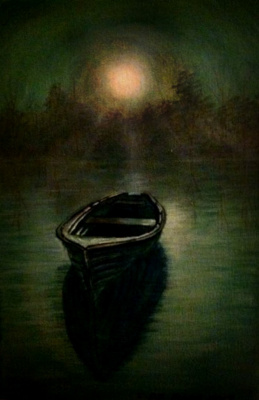 Cristina de biasio. Boat in the moonlight