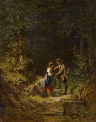 Karl Spitzweg. Meeting in the forest: a hunter and a farmer