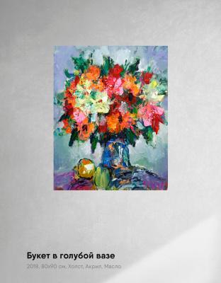 Ilya Pavlovich Spichenkov. Flowers in a blue vase. By Spichenkov
