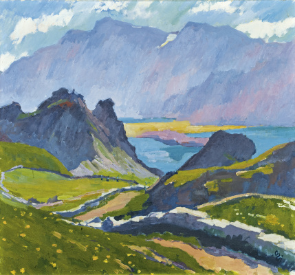 Giovanni Giacometti. The green slopes and mountain Greaseless, Switzerland