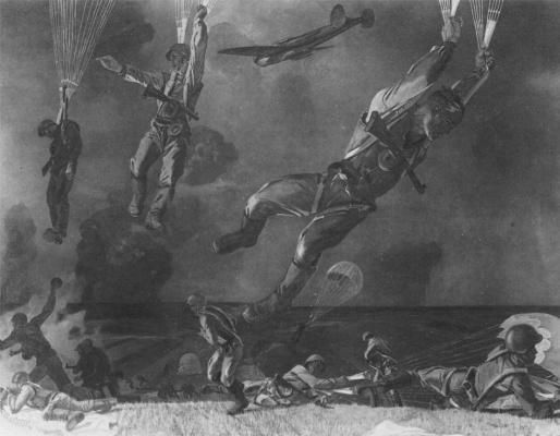 Alexander Alexandrovich Deineka. Parachute landing on the river