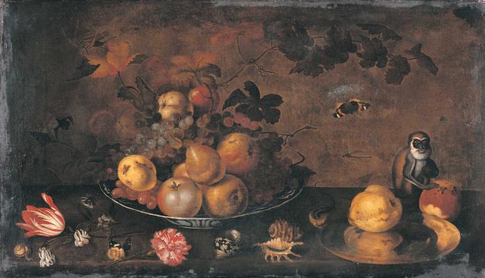 Цветы, фрукты и обезьяна