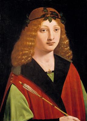 Giovanni Antonio Boltraffio. Portrait of a young man holding an arrow