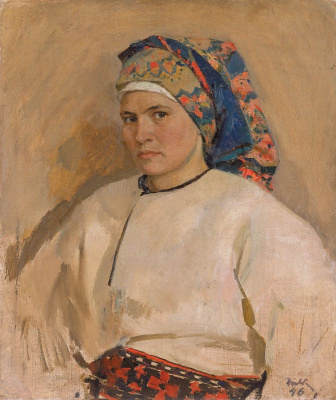 Tetyana Yablonska. Self-portrait in Ukrainian costume