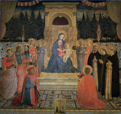 Fra Beato Angelico. Madonna on the throne. The altar of the monastery of San Marco, the central part