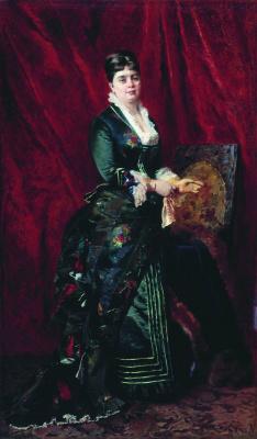 Константин Егорович Маковский. Портрет молодой женщины в зеленом платье