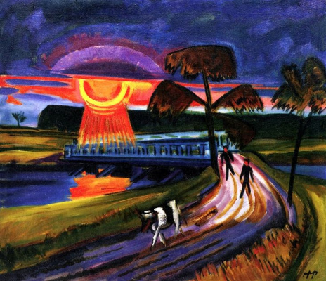Max Pehshtein. Sunset over blue bridge in Leba
