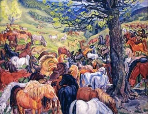Фёдор Федорович Манайло. Табун гуцульских лошадей