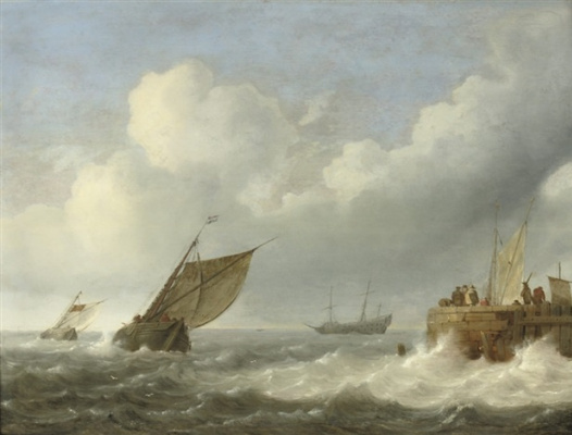 Ян Порселлис. Парусники в неспокойном море и фигуры на причале