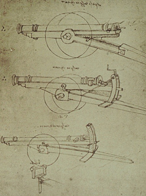 Leonardo da Vinci. The drawing of the gun