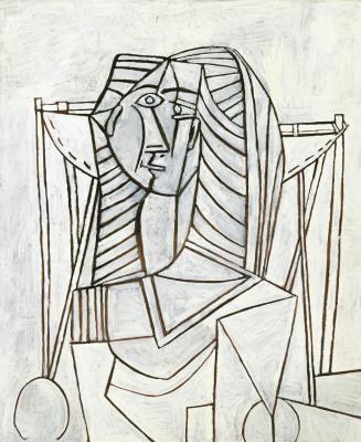 Пабло Пикассо. Женщина в кресле на белом фоне