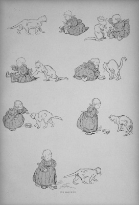 Theophile-Alexander Steinlen. Cats: pictures without words. Fight