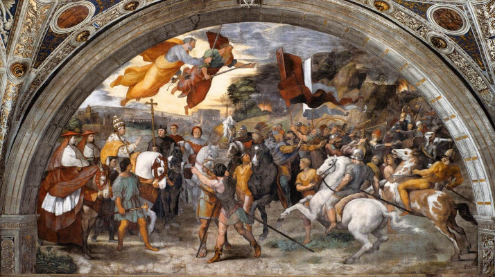 Raphael Sanzio. The meeting of Pope Leo I the Great with Attila. The stanza d Eliodoro