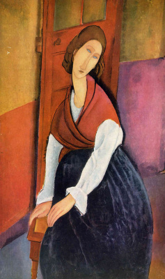 Amedeo Modigliani. Jeanne hébuterne, seated in front of the door