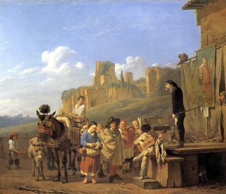 Представление шарлатанов на фоне итальянского пейзажа