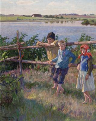 Nikolay Petrovich Bogdanov-Belsky. Children on the shore of lake