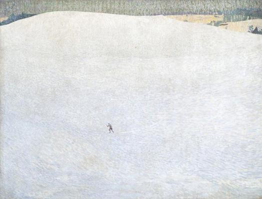 Cuno Amiè. Winter landscape with skier