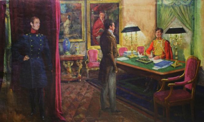 Nikolay Ivanovich Shestopalov. Decembrist I. D. Yakushkin being interrogated at the Winter Palace. 1950