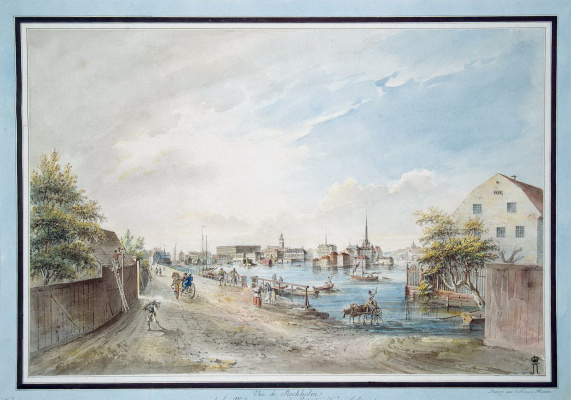 Йоханн Фредрик Мартин. Вид Стокгольма с моста Конгсхольмен