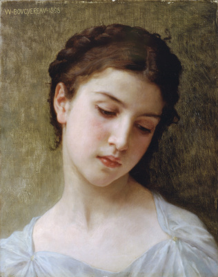 William-Adolphe Bouguereau. Etude. Portrait of a young girl