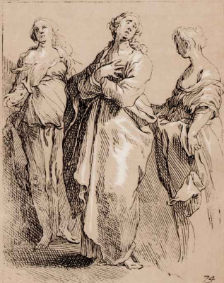 Abraham Bloomart. Three grieving women