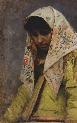 "Mikhail Vasilyevich Nesterov. Head of a young woman in a patterned headscarf. Study for the painting ""For a love potion"""