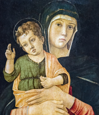 Giovanni Bellini. Madonna with a blessing baby (Madonna thumb). Fragment