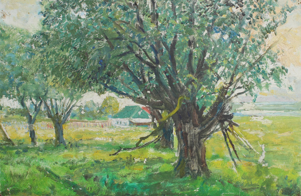 Vasily Fadeevich Demin. Willow in the village Zarechie
