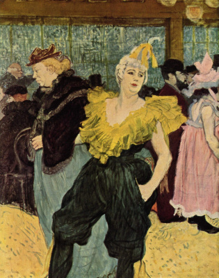"Henri de Toulouse-Lautrec. Clown Sha-u-Kao in ""Moulin Rouge"""
