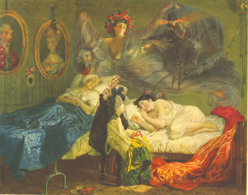 Taras Grigorievich Shevchenko. Dream of grandmother and granddaughter. A copy of the picture by K. P. Briullov