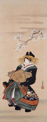 """Утагава Кунисада. Куртизанка и цветущее вишневое дерево. Серия """"Обычаи двенадцати месяцев"""""""