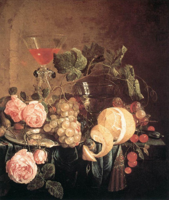 Jan Davids de Hem. Still life with flowers and fruit