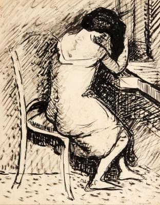 Henri Manguin. Jeanne at the dressing table. Etude