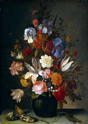 Балтазар ван дер Аст. Натюрморт с цветами, раковинами и ящерицей