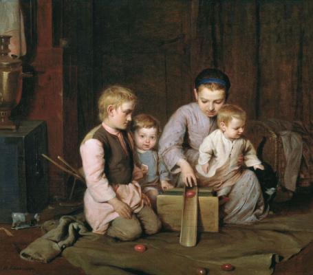 Nikolay Koshelev. Children rolling Easter eggs