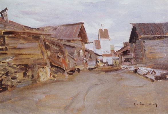 Konstantin Korovin. Village in Northern Russia. Etude