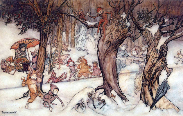 Arthur Rackham. Winter pranks