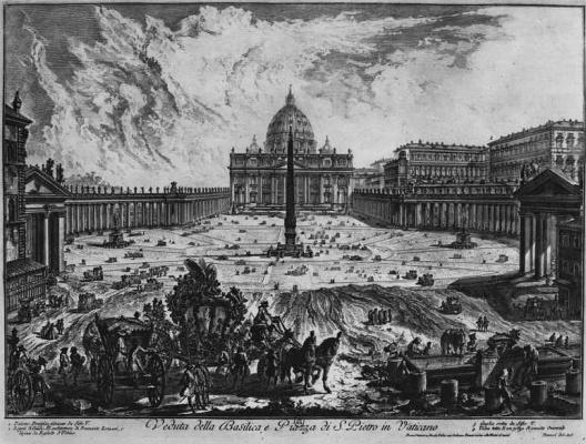Вид Площади и Собора святого Петра в Ватикане