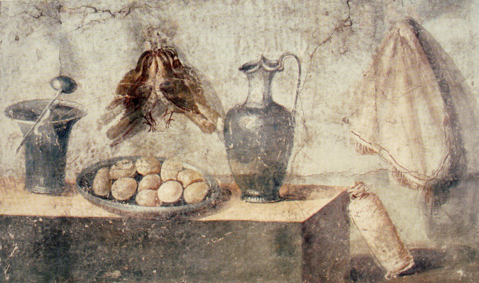 Masterpieces of unknown artists. Still life with eggs, birds and bronze dishes from the house of Julia Felix, Pompeii