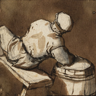 Adrian Jans van Ostade. Seated peasant, leaning on the barrel