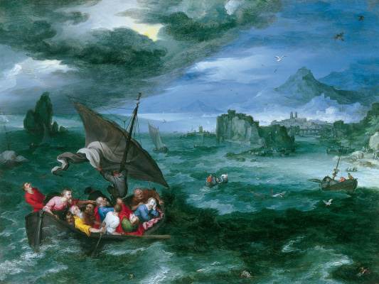 Jan Bruegel The Elder. Christ sleeps in a boat during a storm on the Sea of Galilee. 1596