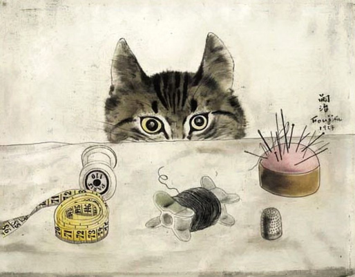 Цугухару Фудзита ( Леонар Фужита ). Кошка у стола