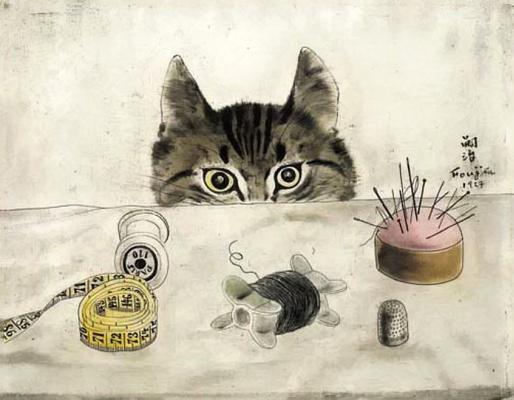 Zuguharu Fujita (Léonard Fujita). Cat at the table