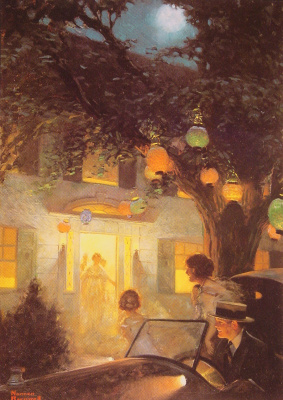 Norman Rockwell. And the symbol of welcome is light