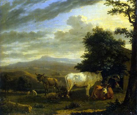 Карел Дюжарден. Пейзаж с животными